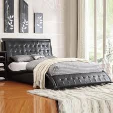black upholstered sleigh bed. Coaster Contemporary Tully White Black Leather-like Vinyl Upholstered Button-Tufted Headboard Queen Bed Sleigh L