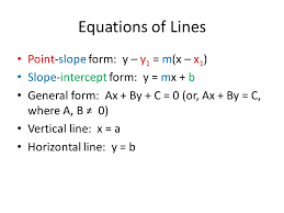 3 equations of lines point slope