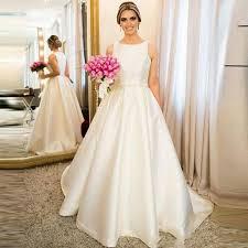 Wedding Dress Plus Size Chart Us 125 3 30 Off Vestido De Novia 2019 Simple Satin A Line Beading Waist Wedding Dress Plus Size Wedding Bridal Gowns Robe De Mariee Trouwjurk In