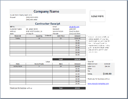 receipts templates ms excel contractor receipt template free receipt templates