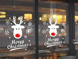 christmas office door decoration. Cute Deer Merry Christmas Snowflake Atmosphere Decoration Store Shop Office Door Sticker Window Wall Sticker-in Stickers From Home
