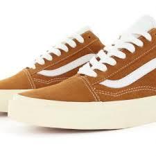 vans shoes white and brown. home\u003eshop all products\u003efootwear\u003eskate\u003evans shoes old skool \u2013 glazed ginger white vans and brown