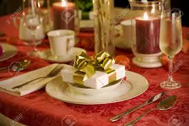 Christmas Table Setting Elegant Christmas Table Setting In Red With Gold Gift As Focal