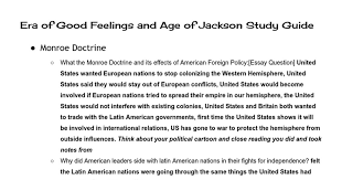 era of good feelings and age of jackson study guide w answers era of good feelings and age of jackson study guide w answers google docs