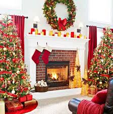 christmas-fireplace-decorations-with-christmas-tree