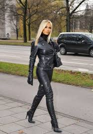 weekend attire leather boots leather trousers leather and lace leather catsuit black