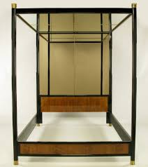 Henredon Mirror, Black Lacquer, & Walnut Queen Canopy Bed