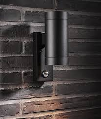 exterior up down wall light with pir brushed aluminium or black finish