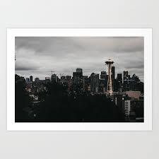 Seattle Cityscape Seattle Skyline Art Print