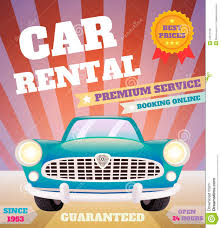 Rent Poster Car Rental Retro Poster Stock Vector Illustration Of Cover 41817078
