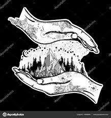 Hory V Rukou Tetování Symbol Cestování Cestovní Ruch Stock