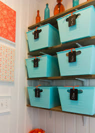 tubs with chalkboard tags pic for 16 diy bathroom storage ideas on a budget