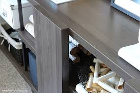 Clever office organisation 29 diy office table Clip This Console Table In Home Office Is Clever Storage Idea For Placing The Printer Setting For Four Home Office Makeover Before And After Setting For Four