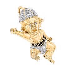 3d custom jewelry designs 10k gold diamond bad boy pendant 1 3ct by luxurman yellow