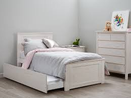 Whitewash Single Bedroom Suite With Trundle Modern Timber Kids Bedroom  Furniture Package