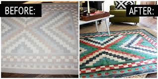 carpet paint. painted rug before and after carpet paint