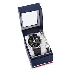 Mens Designer Watch Gift Set 2770058 Mens Black Leather Watch And Bracelet Gift Set