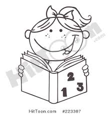 Small Picture Reading Clipart 223307 Coloring Page Outline of a Girl Reading a