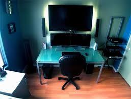 impressive office desk setup. 14. Clean TV Mount Impressive Office Desk Setup