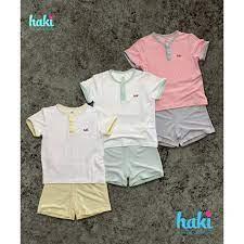 VNXK] BB023 - Bộ quần áo cộc tay cho bé Haki vải sợi tre cao cấp Bộ quần áo  hè cho bé trai bé gái bé sơ sinh tại TP. Hồ Chí
