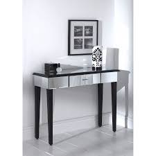 Black sofa table with drawers 42 Inch Art Deco Furniture Ideas With Romano Mirrored Console Table Combined With Black Wooden Legs And Drawer Architecture And Interior Design Modern Architecture Center Living Room Art Deco Furniture Ideas With Romano Mirrored Console