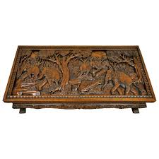 carved coffee table oval coffee table with hand carved battle scene and six carved coffee table carved coffee table