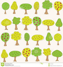Set Different Fruit Trees Vector Illustration Stock Vector Different Fruit Trees