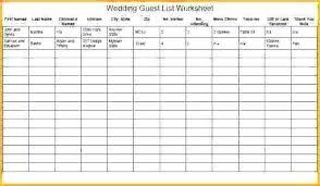 Wedding Guest List Template Excel Download Invitation Guest List Template Wedding Excel Free Pdf