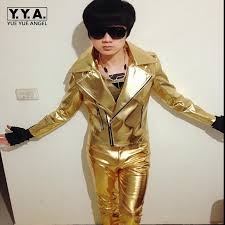 brand new mens punk rock singer jackets pu leather motorcycle jackets male cosplay jacket gold silver