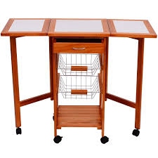 Outsunny Kitchen Service Table Wood And Chrome Plated Metal 6