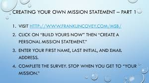 the importance of work unit 1 unit objectives you will 1 create creating your own mission statement part 1 1
