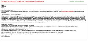 Administrative Assistant Job Offer Letter | Offer Letters Templates ...
