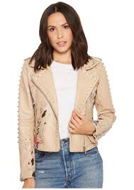 blank fl embroidered studded moto jacket in natural romance