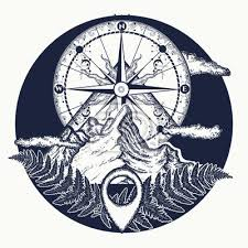 Plakát Horní Top A Vintage Kompas Tetování A Tričko Design Hory A Kompas