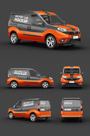 Use the most unique collection of mockup templates to create stunning mockups online within seconds. Delivery Car Mockup 3 In 2020 Orange Vans Vehicle Signage Fiat Doblo