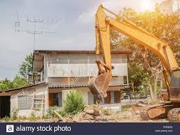 Light Demolition Work Bucket Excavator Destruction In Work Outdoor Construction