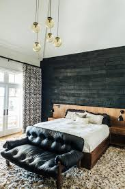 Master Bedroom Retreat Design Master Suite With Charred Accent Wall Wood Patterned Bathroom