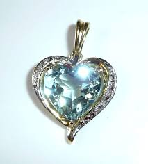 heart pendant clip in 14 kt 585 gold with 8 ct aquamarine heart 10