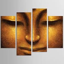 <b>HD printed 4 piece</b> canvas wall art Buddha meditation painting ...