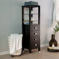 black wood storage cabinet. Tall Black Wooden Storage Cabinet With Glass Racks And Four Doors For Bathroom Wood E
