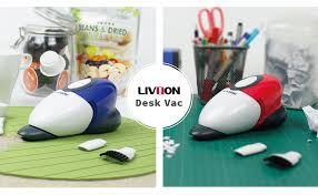 the mini desk vac by livion be it spilled coffee grounds or a trail of cookie crumbs dragging out a full sized vacuum to clean the kitchen counter or