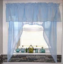 Kitchen Window Curtain Panels White Wooden Kitchen Window With Blue Curtain And Valance