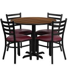 36 inch round walnut laminate dining table set with 4 burdy chairs of1hd1008 gg