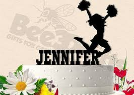 Cheerleader Birthday With Name Cake Topper