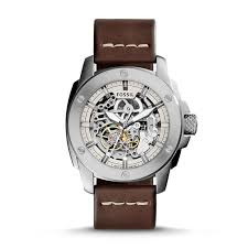 modern machine automatic brown leather watch fossil modern machine automatic brown leather watch