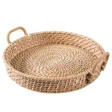 18 Inch Round Hand Woven Rattan Kitchen Fruit Produce Bread Basket Serving  Tray with Wood Handles | MyGift