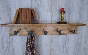 Shelf And Coat Rack Barn wood Shelf and Coat Rack Craftbnb 100