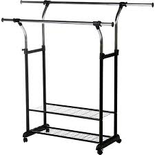 Walmart Utility Shelves Best Rod Desyne Mobile 60'' W Double Rail Clothes Rack With Utility