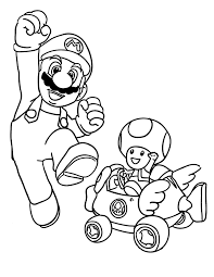 Mario Kart Coloring Pages Mario And Toad Coloringstar