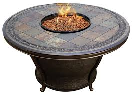 agio tempe 48 round slate top gas fire pit table